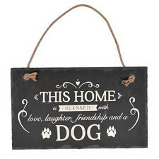 Vintage Style Slate Love Dog Plaque With Rope X59450