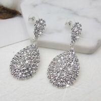 ITS- Women Rhinestone Waterdrop Dangle Stud Earrings Wedding Party Jewelry Cheap