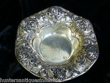 "Vintage Gorham Sterling Repousse Bowl with Engraving on bottom ""Grandma 1904"""