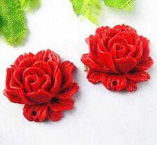 2pcs Beautiful cinnabar carved flower pendant bead 25x10mm BD278