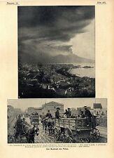 Eruzione del Vesuvio Napoli rovesciato Elettrici Ferrovie Circumvesuviana B.... 1906
