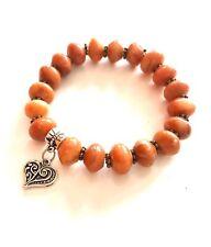 Handmade Orange Natural Gemstone Bead Stretch Bracelet Vintage Heart Charm Free