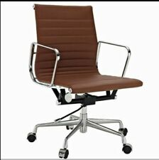 Modern Style Low Back Thin Pad Leather Office Chair Dark Brown