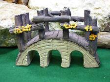 Fairy Garden Miniature Doll House Log wood Look Bridge with flowers New CUTE