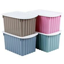 4 Small Plastic Storage Box Crates Containers with Lids & Handles for Bits/Bobs