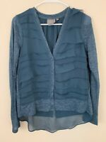 Anthropologie Vanessa Virginia Blue Green Button Front Top Size Small