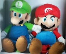 "Backpack 18"" Super Mario Bros Luigi Plush Soft Stuffed Travel Nintendo lot of 2"