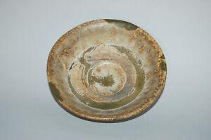 Small stoneware plate, brown and green glaze, Ko-Seto, Japan
