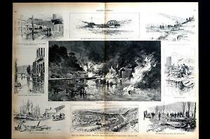 Oil Creek Valley City Flood Fire 1892 SENECA TITUSVILLE NEW BRIDGE Print w Story
