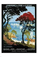 FRENCH VINTAGE TRAIN TRAVEL POSTER cote d'emeraude france OCEAN prized 24X36