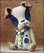 Alla Bears artist Old Antique Puppy Teddy Bear art doll OOAK boy pet decor toy