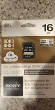 Sony 16gb SDHC UHS-I Memory Card High Speed 40 MB/s 16 GB Sealed In Original Pac