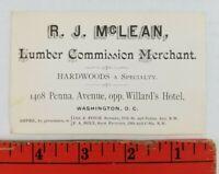Vintage 1900's Lumber Hardwoods Specialty Washington DC Business Card