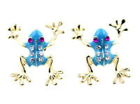 Gold tone blue enamel frog stud earrings with crystal