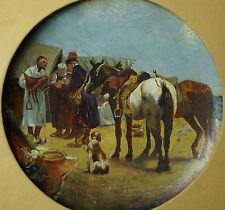Alois Duxa, Orientalischer Pferdemarkt, Öl auf Holzteller, gerahmt