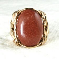 Sparkling Brown Goldstone Cabochon Ring 14K Rolled Gold Jewelry Size Selectable
