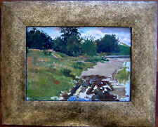 ANTIQUE RUSSIAN IMPRESSIONISM OIL PAINTING LANDSCAPE PUSHNIN COUTRY SIDE SUMMER