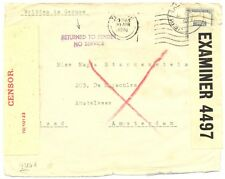 PALESTINE  BRITISH MIL. OCCUP. 1940-4-30 TO HOLLAND -RETURNED WAR!!!! RARE