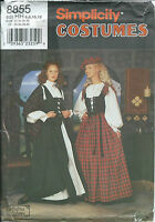 S 8855 sewing pattern Celtic Scotch COSTUME sew BLOUSE VEST SKIRT HAT SHAWL 6-12