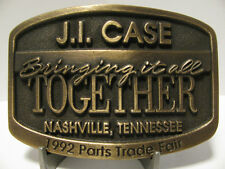 * J I Case IH Parts Conference & Trade Fair Brass Belt Buckle 1992 Nashville TN