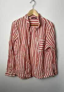 Dunnes Women's Shirt Size XL / 18-20 Striped White Red 100% Cotton