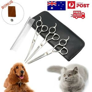 """7"""" Pet Grooming Scissors Set Straight Curved Dog Cat Cutting Thinning Shears7pcs"""