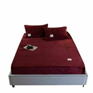 Solid Color Magic Velvet Thicken Fitted Sheets Bed Cover Universal Bedding Sets