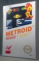 "METROID NES POSTER w/ Top Loader Video Game 17"" Box Art Restoration Nintendo"