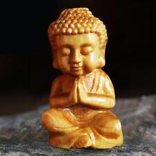 Mini Wooden Buddha Statue Statuette Handicrafts Ornaments Decor Craft AU