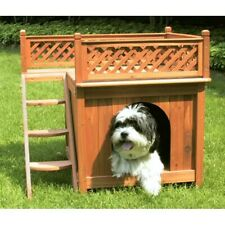 Multicolor Wooden Small Durable Dog House with Latticework Side Steps & Balcony
