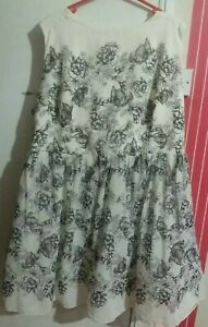 Ladies Ivory & Black fit & flare Floral Silk Occasion Dress UK size 22 By L.M