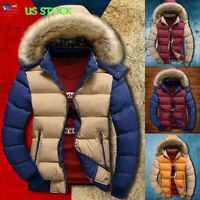 Mens Winter Warm Hooded Thick Padded Jacket Contrast Zipper Outwear Quilted Coat