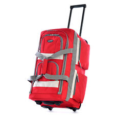 """Olympia Luggage 22"""" 8 Pocket Rolling Duffel Bag Red One Size"""