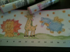 York Wallpaper border Kids Nursery pastel animals dog lion elephant giraffe X 4