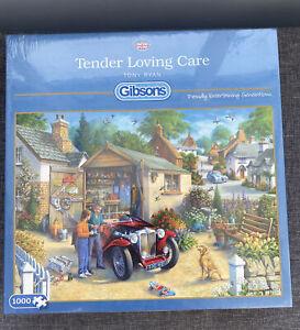 "BNIP ""Tender Loving Care"" 1000 Piece Jigsaw by Gibsons MG Jaguar Classic Cars"