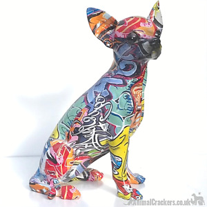 Graffiti Art bright colour sitting Chihuahua ornament figurine Dog lover gift