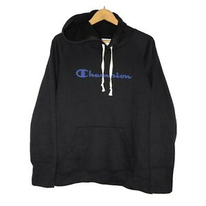 Champion Black Spell Out Hoodie Pullover Hoodie Athletic Wear Size Large