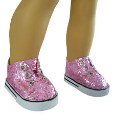 "Pink Glitter Laceless Sneakers Shoes for 18"" American Girl Doll Clothes"