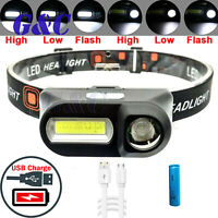 6 Modes Rechargeable Headlight 18650 battery COB LED Head lamp Torch Flashlight