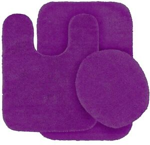 New Sealed Bathroom 3-Piece Solid Purple Bath Set: 1 Lid Cover + 2 Rugs 9900-3