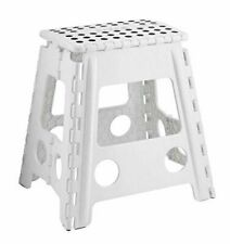 Large Step Stool Plastic Home Kitchen Multi Purpose Foldable Easy Storage White
