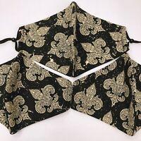 Fleur De Lis Face Mask Reusable Washable Adjustable Black Gold Adult Cloth