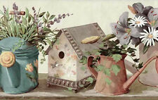 Wallpaper Border Birdhouses Daisies Watering Cans Kitchen FS4817B FREE Ship