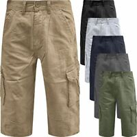 Mens Ex-Wrangler Long Length 3/4 Cargo Combat Three Quarter Chino Twill Shorts