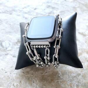 U Shaped Triple Wrap Chain Link Bracelet Band for Fitbit Versa 2 3 Lite & Sense