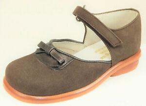 DE OSU -Girls Brown Nubuck Leather Mary Jane Bow Dress Shoes -European 25 Size 7