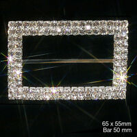 LARGE RECTANGLE RHINESTONE RIBBON SLIDER BUCKLE GREAT FOR CHAIR SASH COVERS