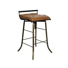 Tufted Leather Bar Stool with Iron Base Home Bar Seating Sold in Pairs