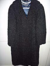 "Ladies Luxury black real Persian lamb fur coat 42"" bust size 14 length 41"""