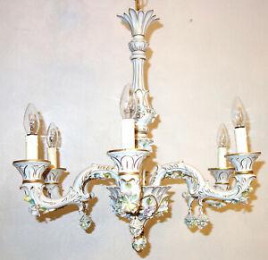 Wunderschöne Antik Porzellan Kronleuchter, Lüster 6 Flammig Signiert Krone N